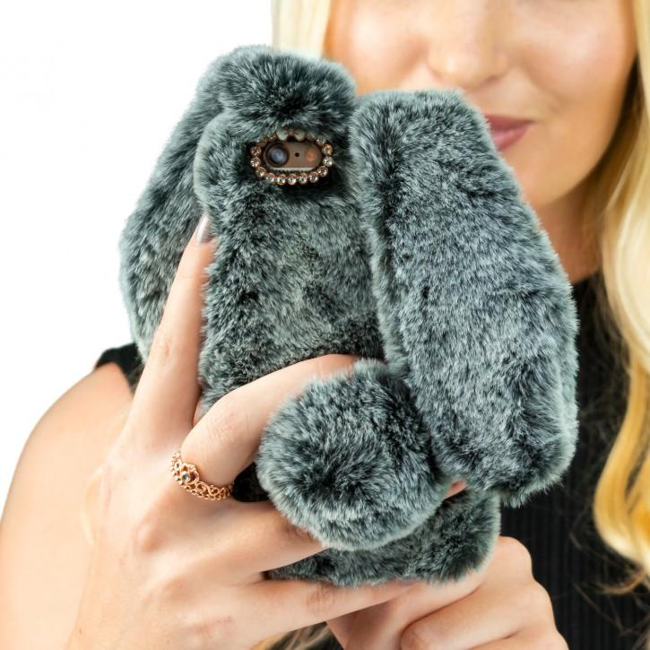 COOVY® Cover für Apple iPhone 6 + plus leichtes TPU Bumper Case mit flauschig weichen Kaninchen-Hasenfell-Pelz Imitat