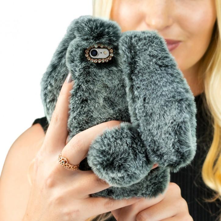 COOVY® Cover für Apple iPhone 7 / 8 leichtes TPU Bumper Case mit flauschig weichen Kaninchen-Hasenfell-Pelz Imitat