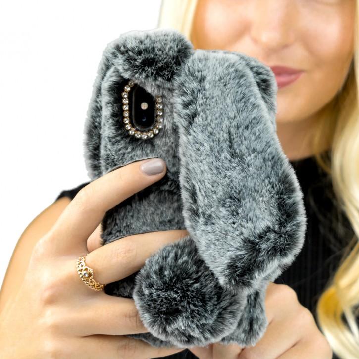 COOVY® Cover für Apple iPhone X / Xs leichtes TPU Bumper Case mit flauschig weichen Kaninchen-Hasenfell-Pelz Imitat