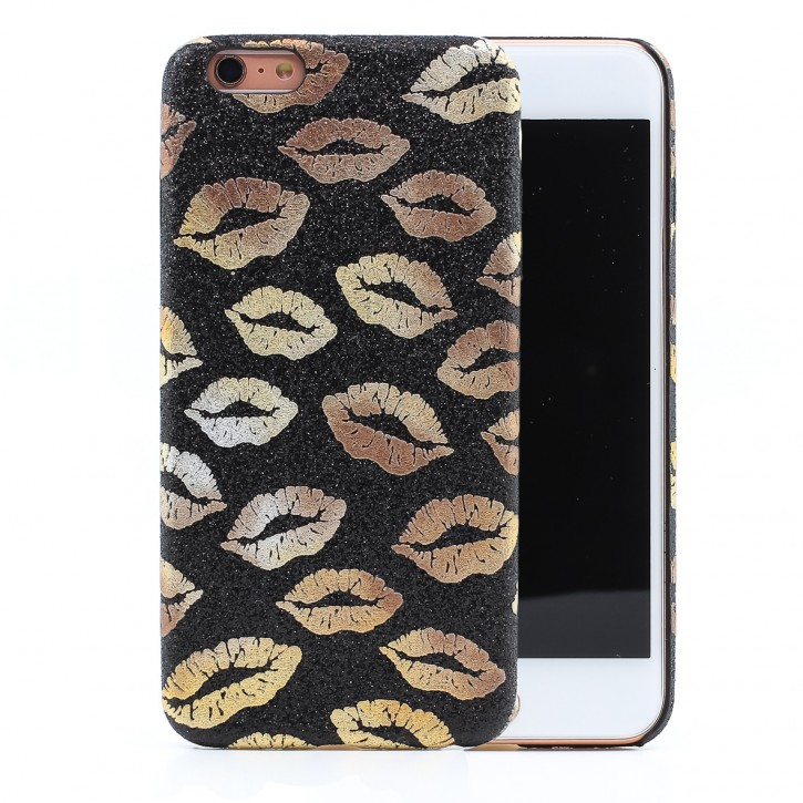 COOVY® Cover für Apple iPhone 6 + plus ultraleichtes, dünnes Bumper Case, Hülle, Slim, funkelndes Kussmund Glitzer-Design |