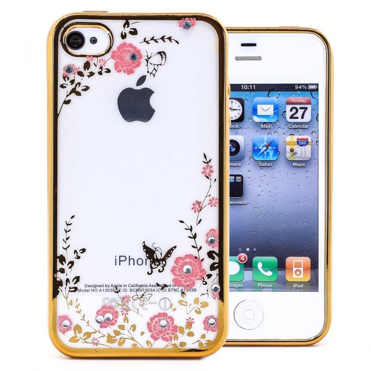 COOVY® Cover für Apple iPhone 4 / 4s leichtes, ultradünnes TPU Silikon Bumper Case, Slim, Blumen Design mit Strass Steinen