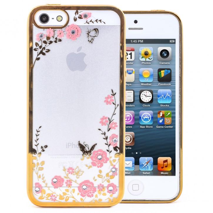 COOVY® Cover für Apple iPhone 5 / 5s / SE leichtes, ultradünnes TPU Silikon Bumper Case, Hülle, Slim, Blumen Design mit Strasssteinen |