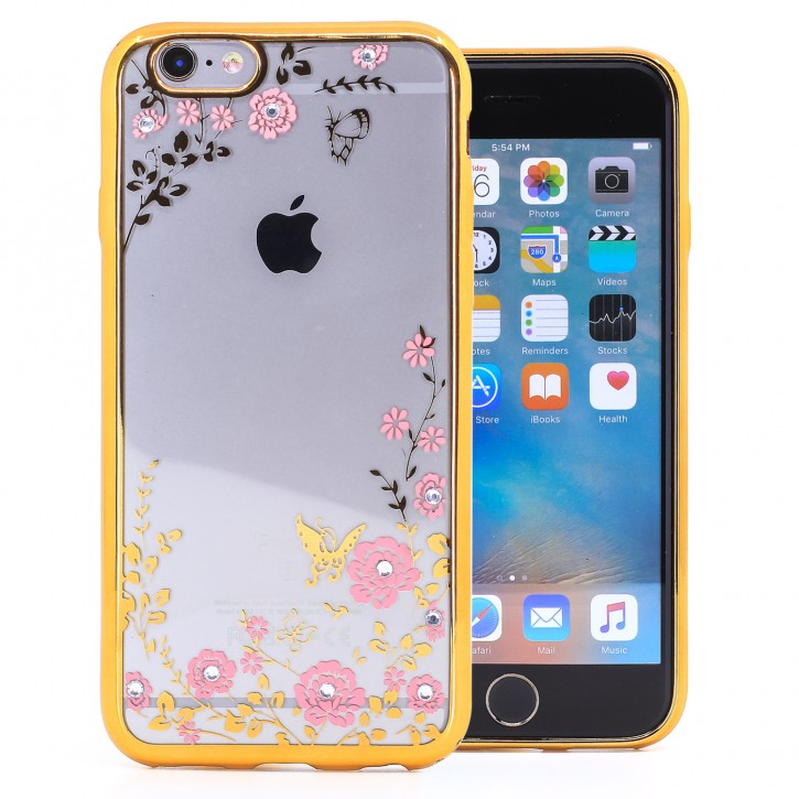 COOVY® Cover für Apple iPhone 6 / 6s leichtes, ultradünnes TPU Silikon Bumper Case, Slim, Blumen Design mit Strass Steinen