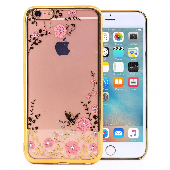 COOVY® Cover für Apple iPhone 6 + plus leichtes, ultradünnes TPU Silikon Bumper Case, Hülle, Slim, Blumen Design mit Strasssteinen |