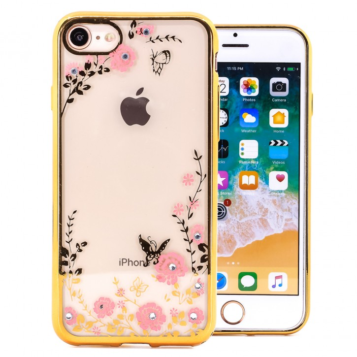 COOVY® Cover für Apple iPhone 7 / 8 leichtes, ultradünnes TPU Silikon Bumper Case, Slim, Blumen Design mit Strass Steinen