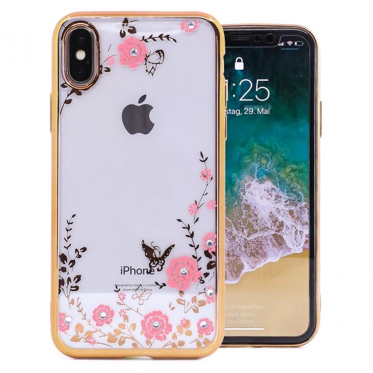 COOVY® Cover für Apple iPhone X / Xs leichtes, ultradünnes TPU Silikon Bumper Case, Slim, Blumen Design mit Strass Steinen