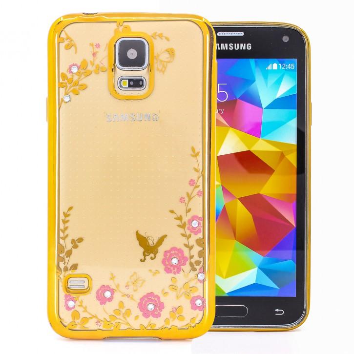 COOVY® Cover für Samsung Galaxy S5 SM-G900F SM-G901F Neo SM-G903F leichtes, ultradünnes TPU Silikon Bumper Case, Slim, Blumen Design mit Strass Steinen