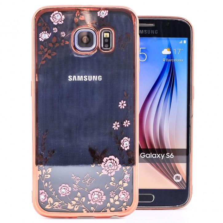 COOVY® Cover für Samsung Galaxy S6 SM-G920F SM-G920 leichtes, ultradünnes TPU Silikon Bumper Case, Slim, Blumen Design mit Strass Steinen