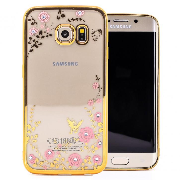 COOVY® Cover für Samsung Galaxy S6 EDGE SM-G925F SM-G925 leichtes, ultradünnes TPU Silikon Bumper Case, Hülle, Slim, Blumen Design mit Strasssteinen |