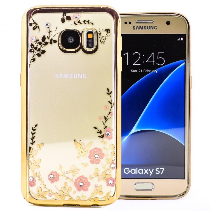 COOVY® Cover für Samsung Galaxy S7 SM-G930F SM-G930 leichtes, ultradünnes TPU Silikon Bumper Case, Slim, Blumen Design mit Strass Steinen
