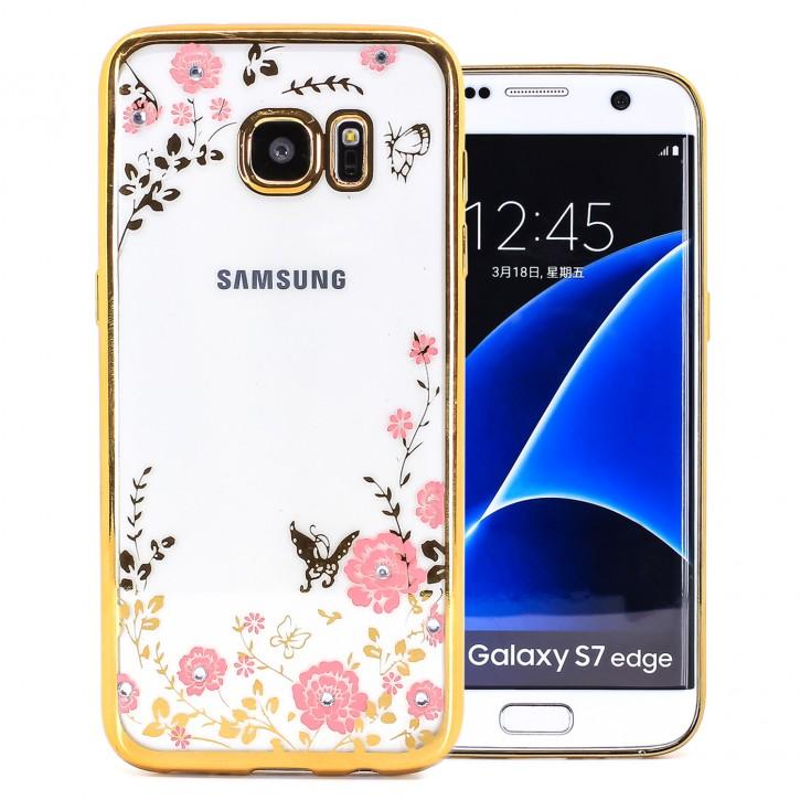 COOVY® Cover für Samsung Galaxy S7 EDGE SM-G935F SM-G935 leichtes, ultradünnes TPU Silikon Bumper Case, Slim, Blumen Design mit Strass Steinen
