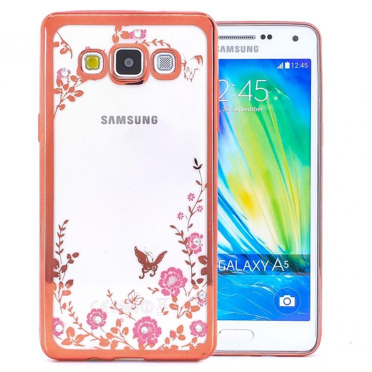 COOVY® Cover für Samsung Galaxy A5 SM-A500 / SM-A500F (Model 2015) leichtes, ultradünnes TPU Silikon Bumper Case, Hülle, Slim, Blumen Design mit Strasssteinen |