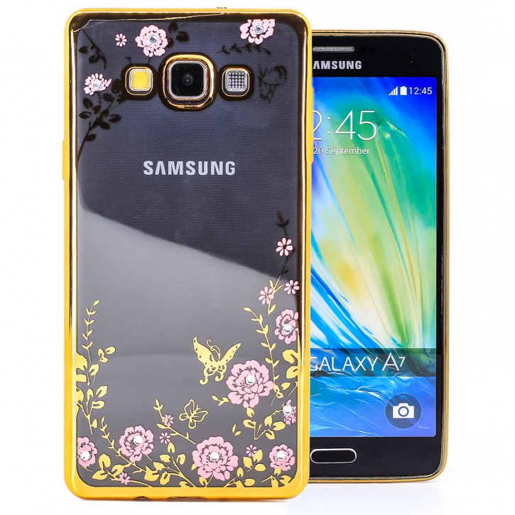 COOVY® Cover für Samsung Galaxy A7 SM-A700 / SM-A700F (Model 2015) leichtes, ultradünnes TPU Silikon Bumper Case, Slim, Blumen Design mit Strass Steinen