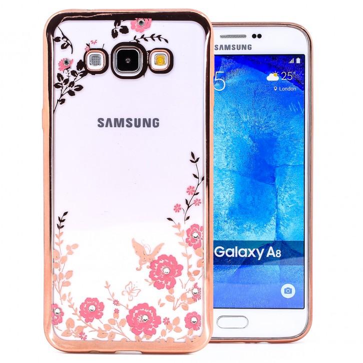 COOVY® Cover für Samsung Galaxy A8 SM-A800 / SM-A800F (Model 2015) leichtes, ultradünnes TPU Silikon Bumper Case, Slim, Blumen Design mit Strass Steinen