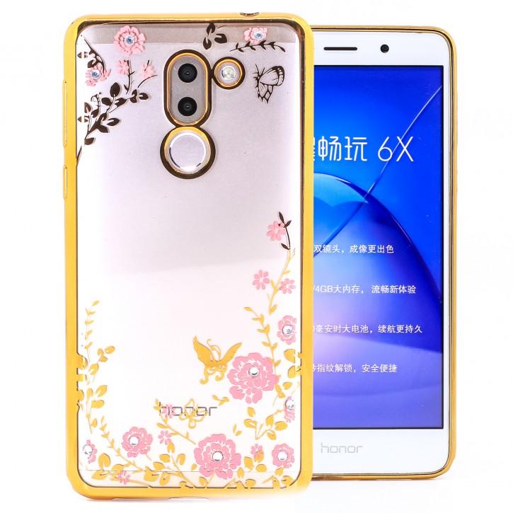 COOVY® Cover für Huawei Honor 6x / Mate 9 lite / GR5 2017 leichtes, ultradünnes TPU Silikon Bumper Case, Slim, Blumen Design mit Strass Steinen