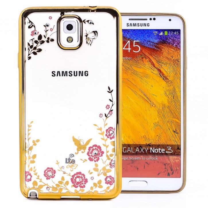 COOVY® Cover für Samsung Galaxy Note 3 GT-N9000 GT-N9002 GT-N9005 GT-N9006 GT-N9009 leichtes, ultradünnes TPU Silikon Bumper Case, Slim, Blumen Design mit Strass Steinen