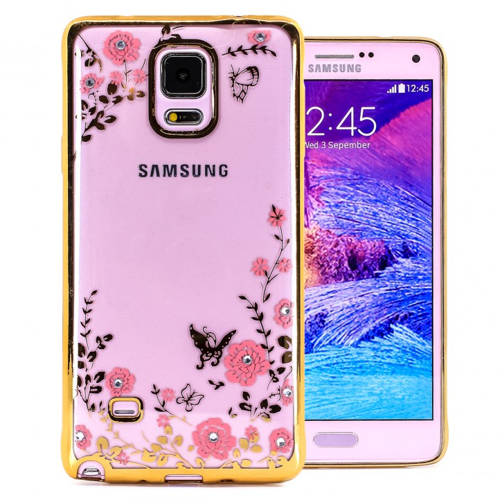 COOVY® Cover für Samsung Galaxy Note 4 SM-N910 / SM-N910F / SM-N9100 leichtes, ultradünnes TPU Silikon Bumper Case, Slim, Blumen Design mit Strass Steinen