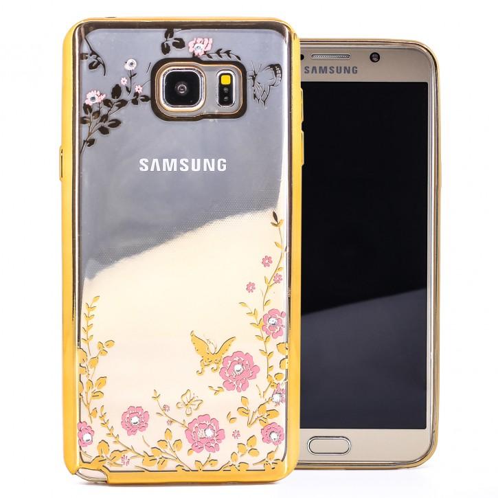 COOVY® Cover für Samsung Galaxy Note 5 SM-N920 / SM-920F leichte, ultradünne TPU Silikon Bumper Hülle, Slim Schutzhülle, Case im Blumen Design mit Strass Steinen