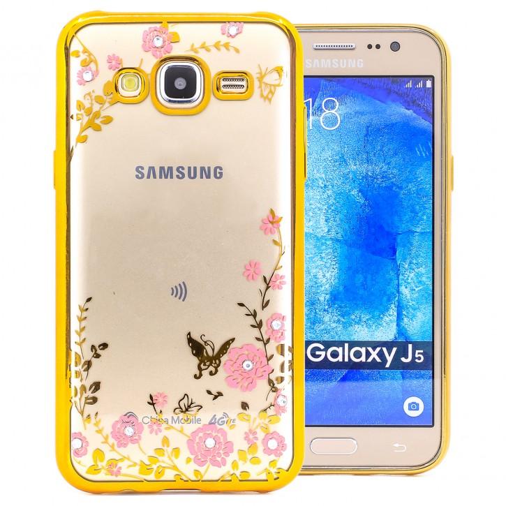 COOVY® Cover für Samsung Galaxy J5 SM-J500 SM-J500F (Model 2015) leichtes, ultradünnes TPU Silikon Bumper Case, Slim, Blumen Design mit Strass Steinen