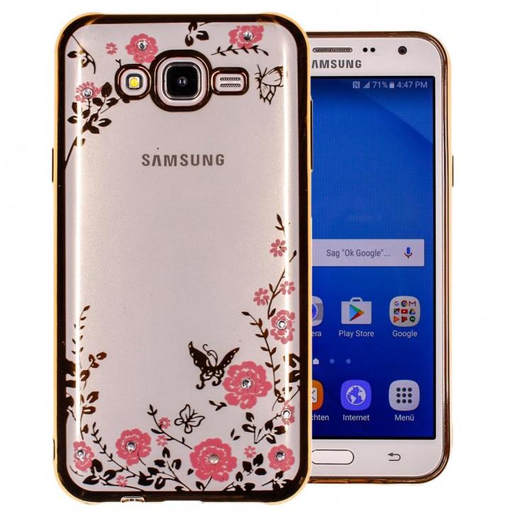 COOVY® Cover für Samsung Galaxy J7 SM-J700 / SM-J700F / SM-J700F/DS (Model 2015) leichtes, ultradünnes TPU Silikon Bumper Case, Slim, Blumen Design mit Strass Steinen