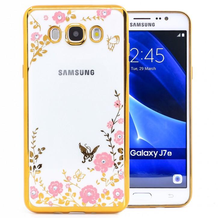 COOVY® Cover für Samsung Galaxy J7 SM-J710 / SM-J710FN / SM-J710F/DS (Model 2016) leichtes, ultradünnes TPU Silikon Bumper Case, Slim, Blumen Design mit Strass Steinen