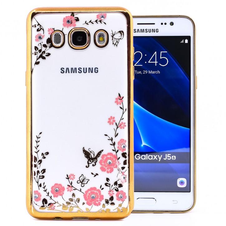 COOVY® Cover für Samsung Galaxy J5 SM-J510 SM-J510F/DS (Model 2016) leichtes, ultradünnes TPU Silikon Bumper Case, Slim, Blumen Design mit Strass Steinen
