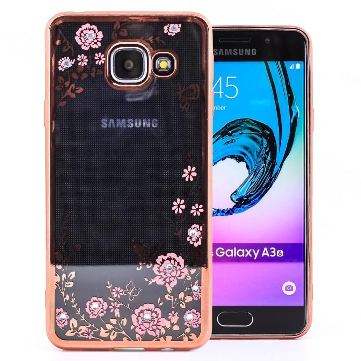 COOVY® Cover für Samsung Galaxy A3 SM-A310 / SM-A310F (Model 2016) leichtes, ultradünnes TPU Silikon Bumper Case, Slim, Blumen Design mit Strass Steinen