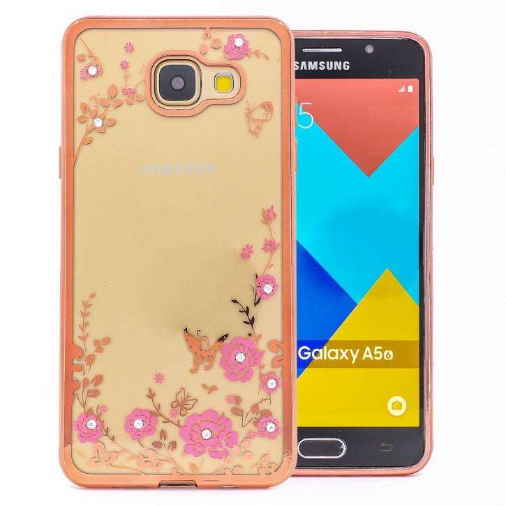 COOVY® Cover für Samsung Galaxy A5 SM-A510 / SM-A510F (Model 2016) leichtes, ultradünnes TPU Silikon Bumper Case, Slim, Blumen Design mit Strass Steinen