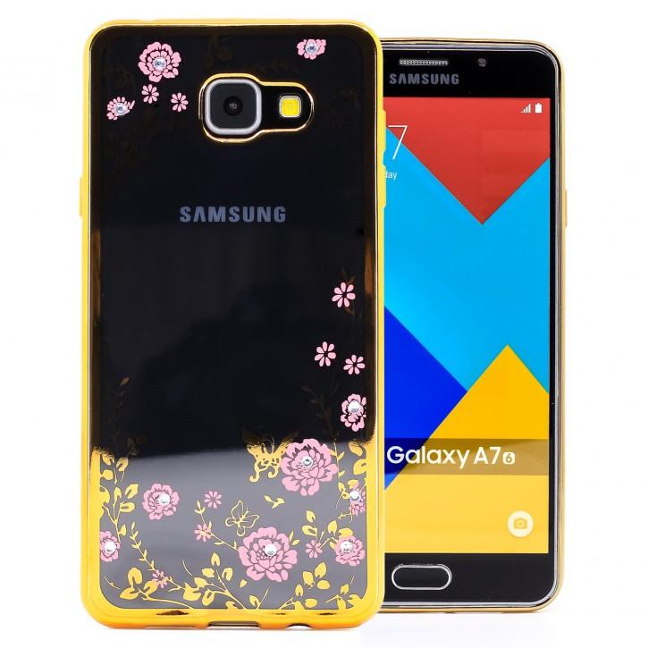 COOVY® Cover für Samsung Galaxy A7 SM-A710 / SM-A710F (Model 2016) leichtes, ultradünnes TPU Silikon Bumper Case, Slim, Blumen Design mit Strass Steinen