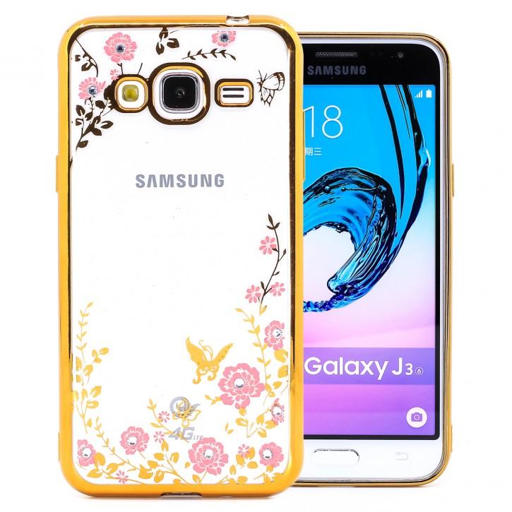 COOVY® Cover für Samsung Galaxy J3 SM-J310 SM-J320 (Model 2015 / 2016) leichtes, ultradünnes TPU Silikon Bumper Case, Hülle, Slim, Blumen Design mit Strasssteinen |