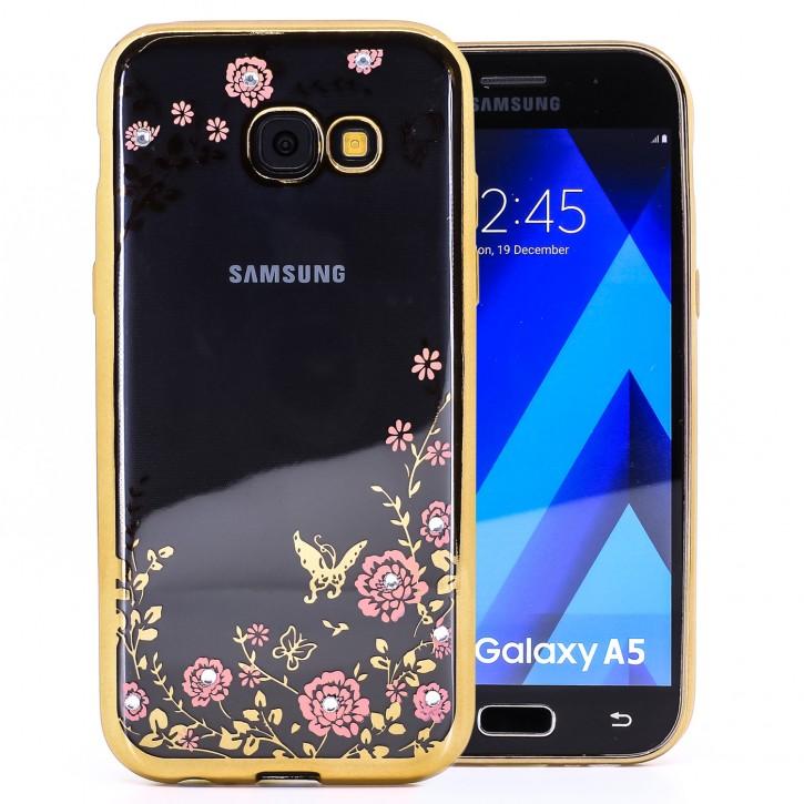 COOVY® Cover für Samsung Galaxy A5 SM-A520 / SM-A520F (Model 2017) leichtes, ultradünnes TPU Silikon Bumper Case, Hülle, Slim, Blumen Design mit Strasssteinen |