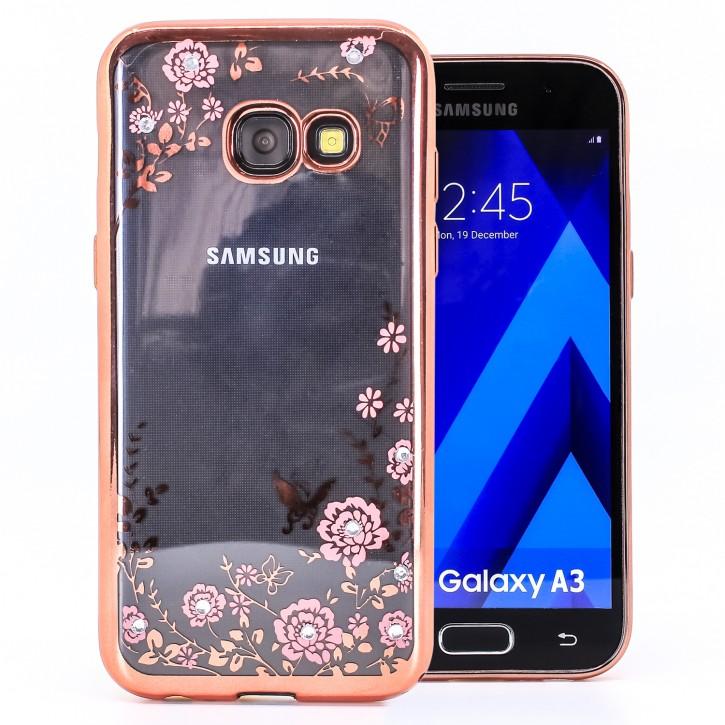 COOVY® Cover für Samsung Galaxy A3 SM-A320 / SM-A320F (Model 2017) leichtes, ultradünnes TPU Silikon Bumper Case, Slim, Blumen Design mit Strass Steinen