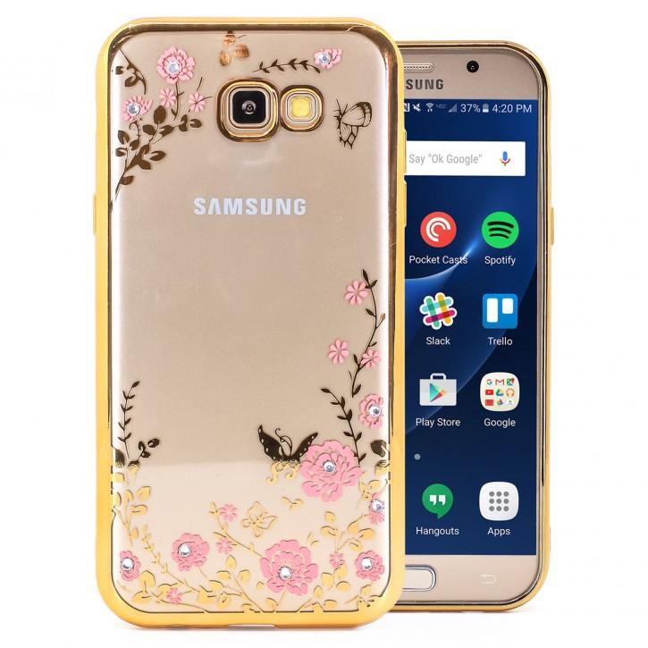 COOVY® Cover für Samsung Galaxy A7 SM-A720 / SM-A720F (Model 2017) leichtes, ultradünnes TPU Silikon Bumper Case, Slim, Blumen Design mit Strass Steinen