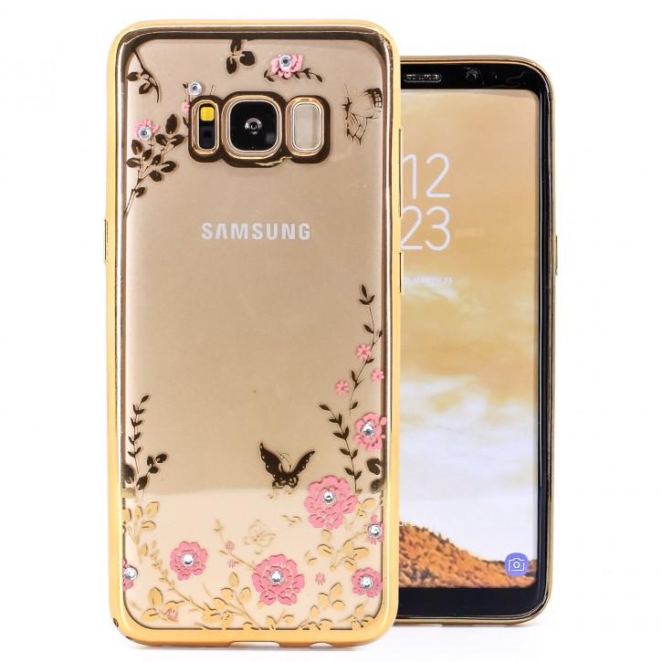 COOVY® Cover für Samsung Galaxy S8 SM-G950F / SM-G950FD leichtes, ultradünnes TPU Silikon Bumper Case, Slim, Blumen Design mit Strass Steinen