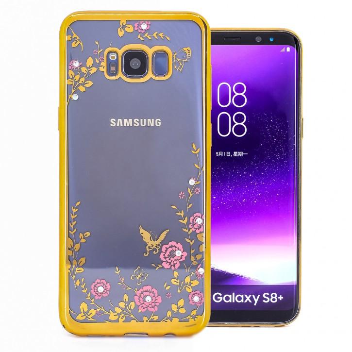 COOVY® Cover für Samsung Galaxy S8 + plus SM-G955F / SM-G955FD leichtes, ultradünnes TPU Silikon Bumper Case, Slim, Blumen Design mit Strass Steinen