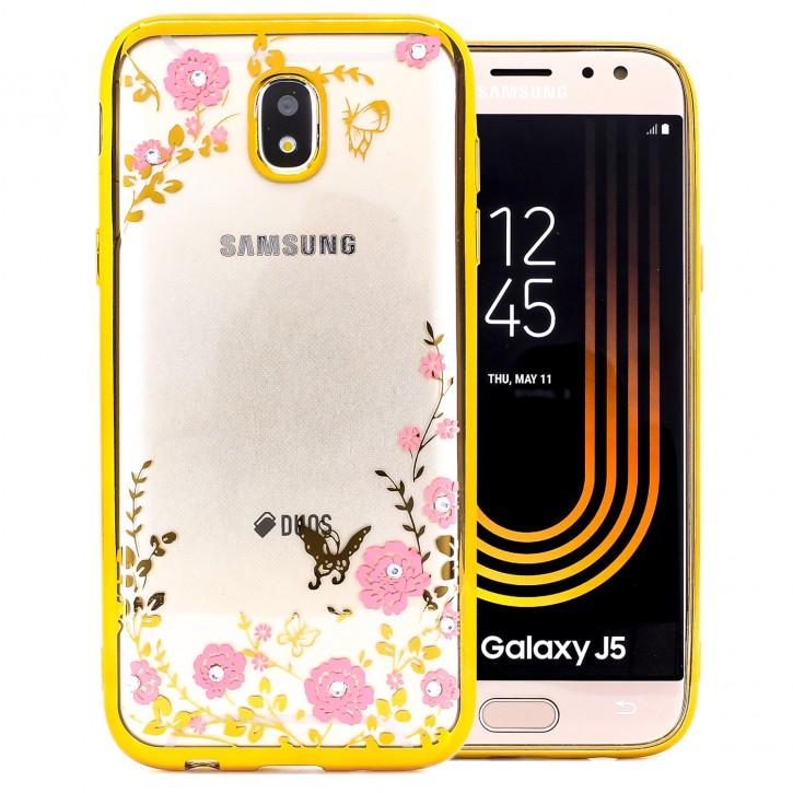 COOVY® Cover für Samsung Galaxy J5 SM-J530 / SM-J530F/DS (Model 2017) / J5 pro leichtes, ultradünnes TPU Silikon Bumper Case, Slim, Blumen Design mit Strass Steinen