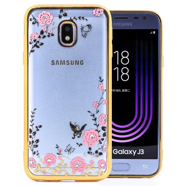COOVY® Cover für Samsung Galaxy J3 SM-J330G / SM-J330F/DS (Model 2017) / J3 pro leichtes, ultradünnes TPU Silikon Bumper Case, Slim, Blumen Design mit Strass Steinen