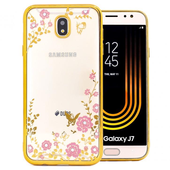 COOVY® Cover für Samsung Galaxy J7 SM-J730GM / SM-J730F/DS (Model 2017) / J7 pro  leichtes, ultradünnes TPU Silikon Bumper Case, Slim, Blumen Design mit Strass Steinen
