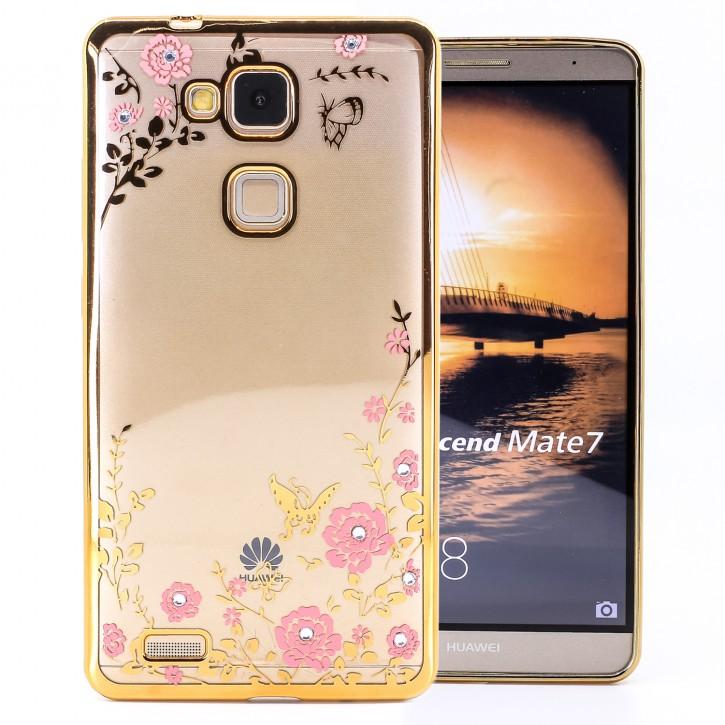 COOVY® Cover für Huawei Mate 7 leichtes, ultradünnes TPU Silikon Bumper Case, Slim, Blumen Design mit Strass Steinen