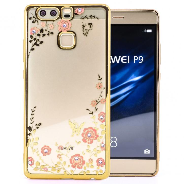 COOVY® Cover für Huawei P9 leichtes, ultradünnes TPU Silikon Bumper Case, Slim, Blumen Design mit Strass Steinen