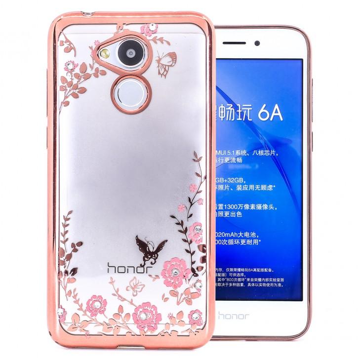 COOVY® Cover für Huawei Honor 6a leichtes, ultradünnes TPU Silikon Bumper Case, Hülle, Slim, Blumen Design mit Strasssteinen |