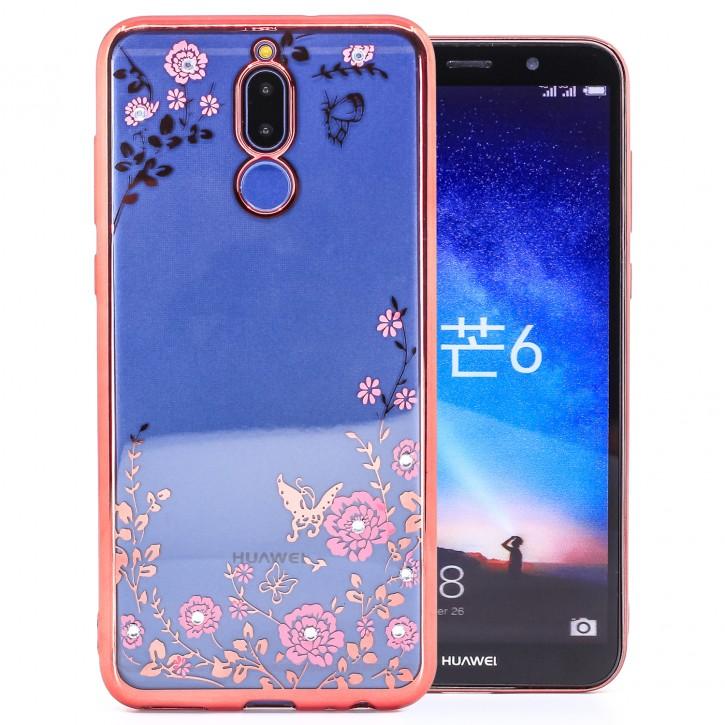 COOVY® Cover für Huawei Mate 10 lite / NOVA 2i leichtes, ultradünnes TPU Silikon Bumper Case, Slim, Blumen Design mit Strass Steinen