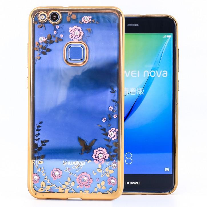 COOVY® Cover für Huawei P10 lite / NOVA lite leichtes, ultradünnes TPU Silikon Bumper Case, Slim, Blumen Design mit Strass Steinen