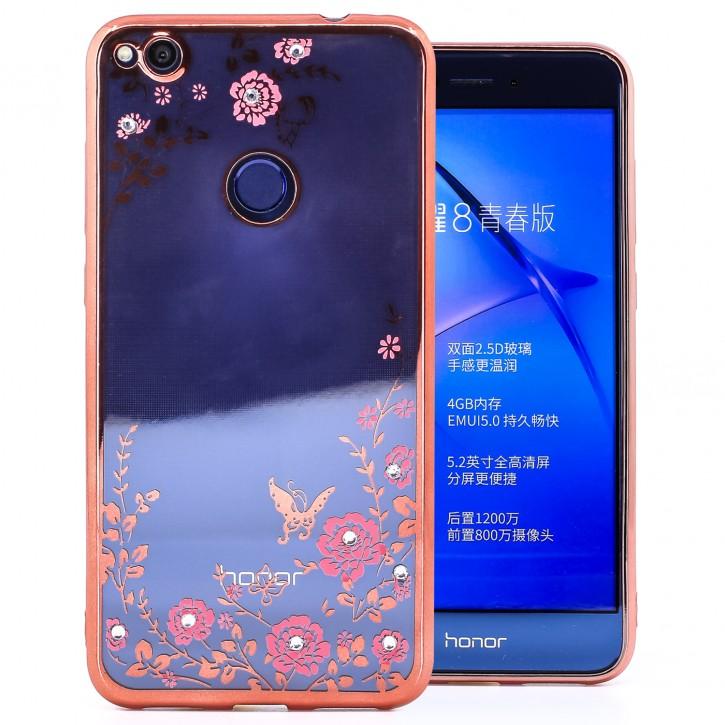 COOVY® Cover für Huawei P8 lite / P9 lite / Honor 8 lite (Model 2017) leichtes, ultradünnes TPU Silikon Bumper Case, Slim, Blumen Design mit Strass Steinen