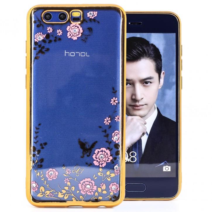 COOVY® Cover für Huawei Honor 9 leichtes, ultradünnes TPU Silikon Bumper Case, Slim, Blumen Design mit Strass Steinen