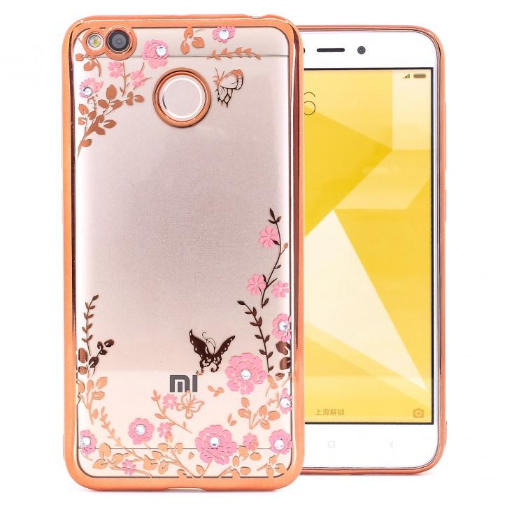 COOVY® Cover für Xiaomi Redmi 4X leichtes, ultradünnes TPU Silikon Bumper Case, Slim, Blumen Design mit Strass Steinen