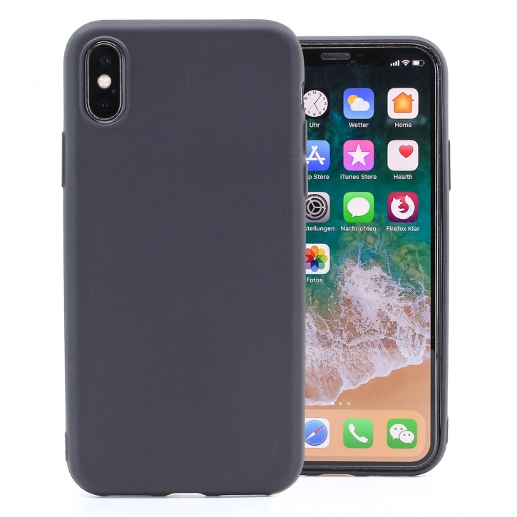 COOVY® Cover für Apple iPhone X / Xs ultra dünnes, leichtes TPU Silikon Bumper Case, Slim, metallisch schimmerndes Design