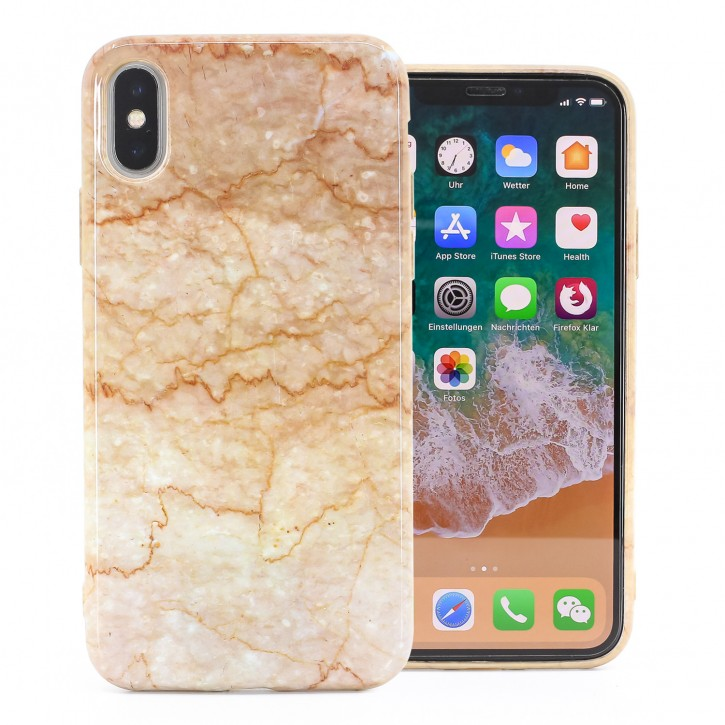 COOVY® Cover für Apple iPhone X / Xs ultra dünnes TPU Silikon Bumper Case, Slim, Marmor Design