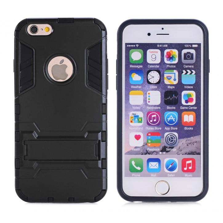 COOVY® Cover für Apple iPhone 5 / 5s / SE Bumper Case, Doppelschicht aus Plastik + TPU-Silikon, extra stark, Anti-Shock, Standfunktion