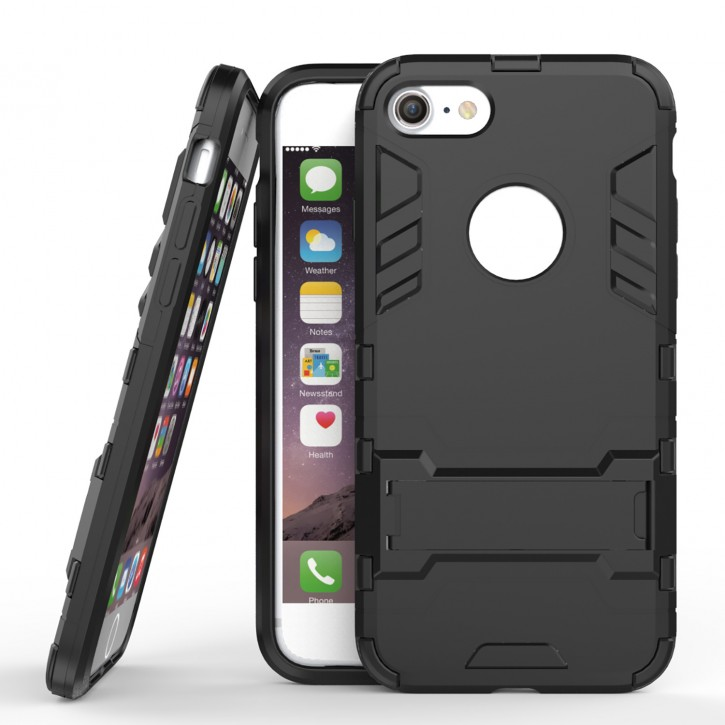 COOVY® Cover für Apple iPhone 7 / 8 Bumper Case, Doppelschicht aus Plastik + TPU-Silikon, extra stark, Anti-Shock, Standfunktion